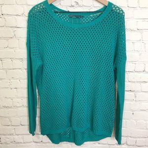 PrAna mesh net pull on oversized sweater teal blue